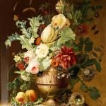 Roses, a Tulip, a Peony, Marigolds, Hollyhocks by Johannes Hendrick Fredriks