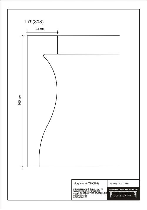 Гипсовая лепнина Аврора молдинг Т79 (808)
