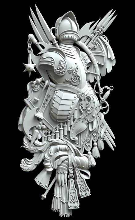 Гипсовый декор Д187 - доспехи. Гипсовая лепнина Аврора (Краснодар)